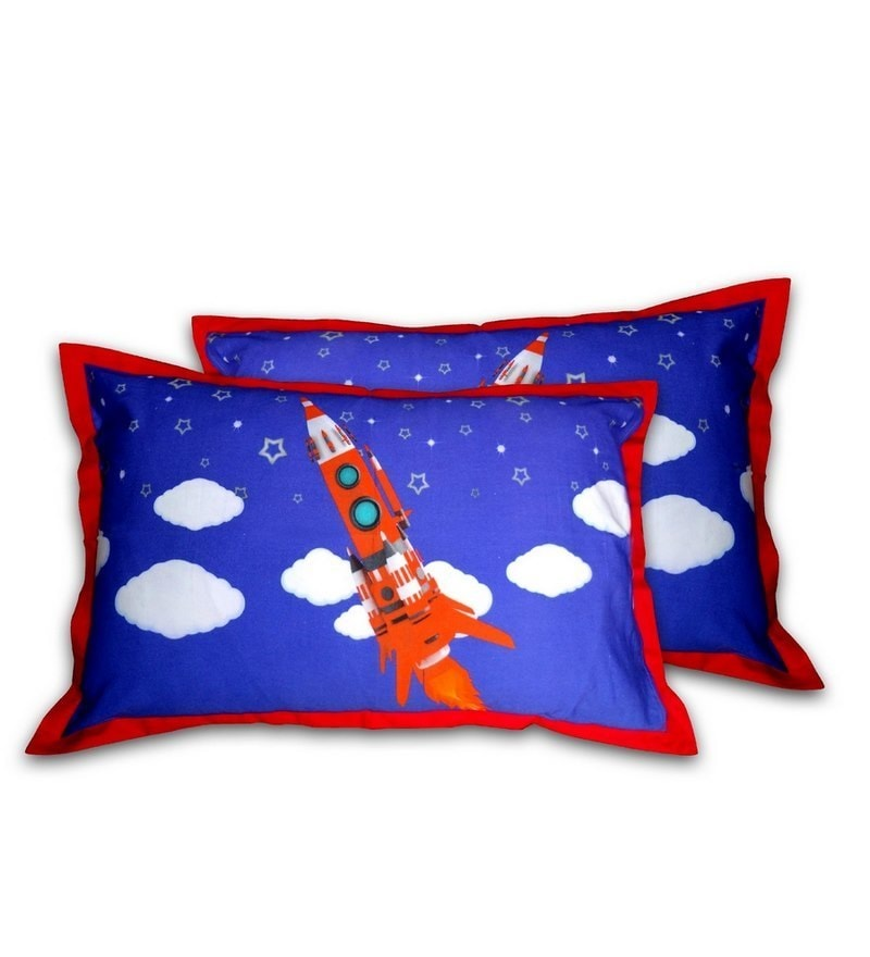 Digital Rocket Print Blue & Red Cotton Pillow Cover by Swayam