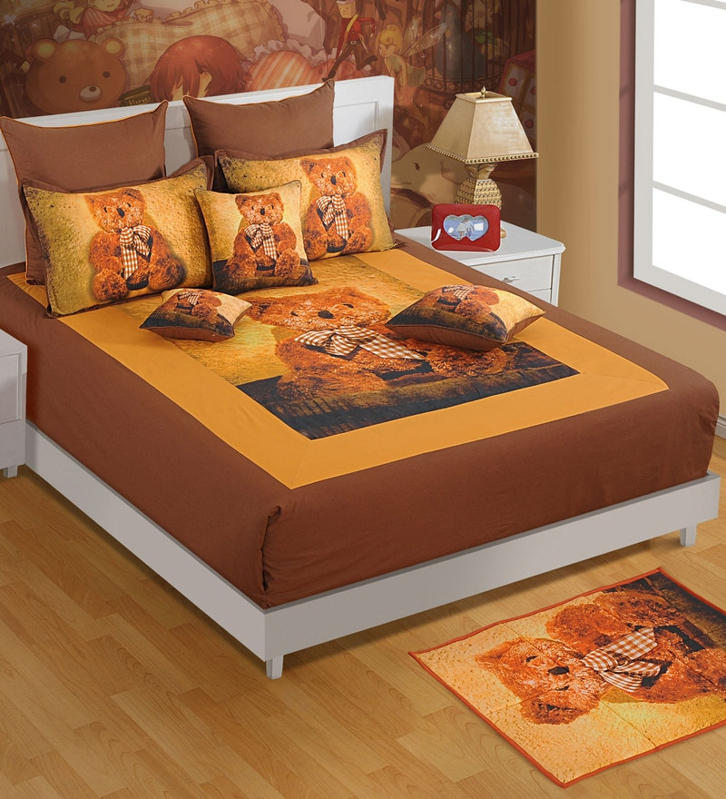 Double Digital Print Baby Bed Sheet Set with 2 Pillow Covers by Swayam