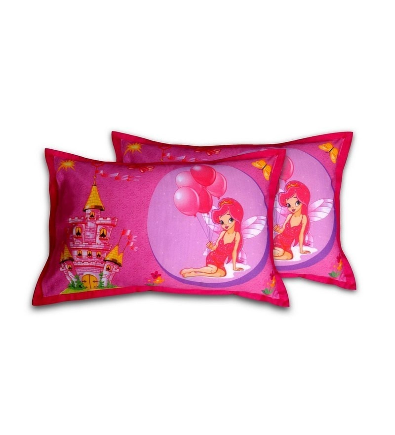 Fairy Pink Cotton Pillow Cover by Swayam