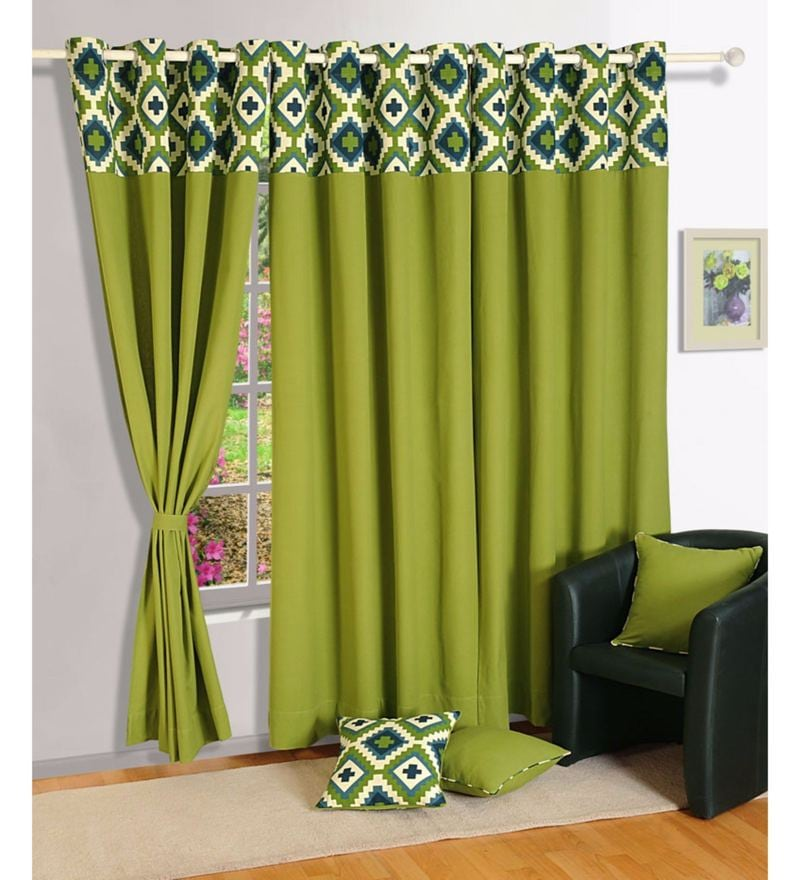 Green 100% Cotton 60 x 54 Inch Solid Premium Lining Plain Eyelet Window Curtain by Swayam