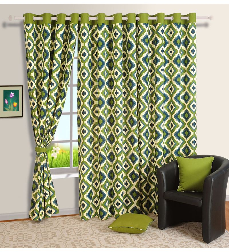Green Cotton Geometrical Premium Lining Printed Eyelet Curtain by Swayam