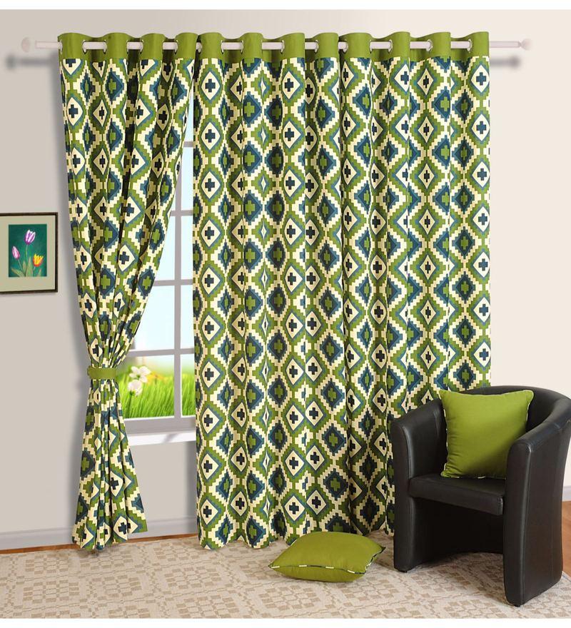 Green Cotton Geometrical Printed Eyelet Curtain by Swayam