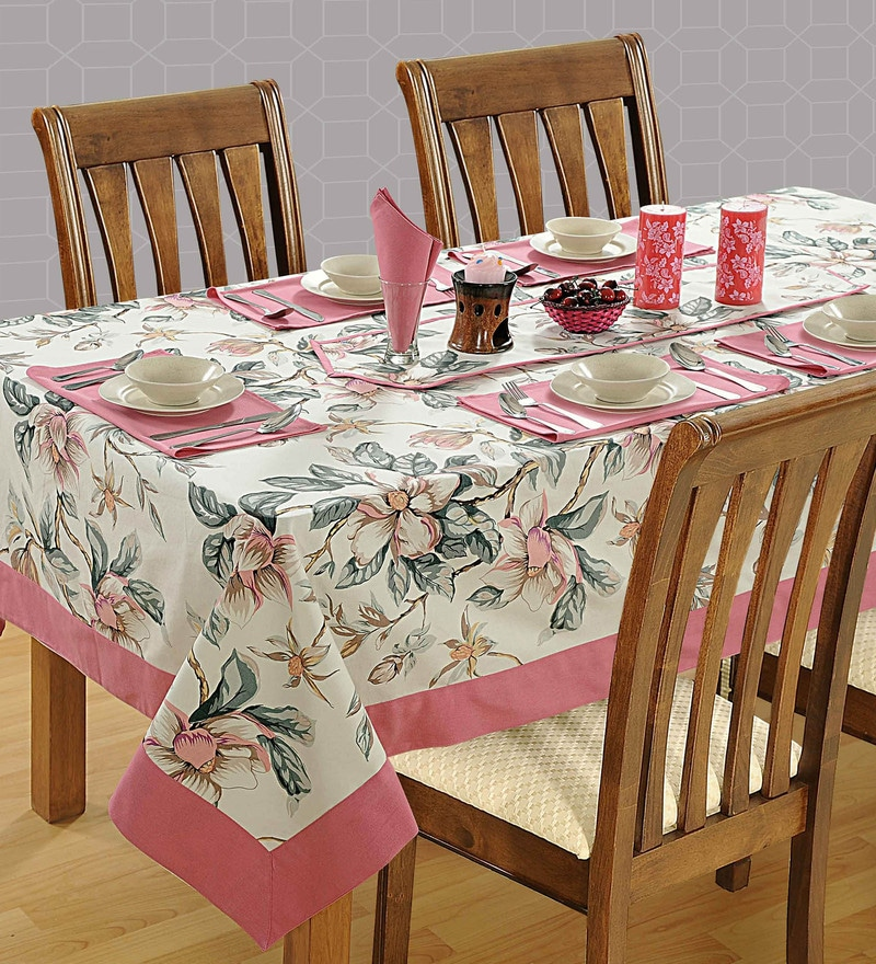 Swayam Libra Printed Multicolour 100% Cotton 6 Seater Table Cover