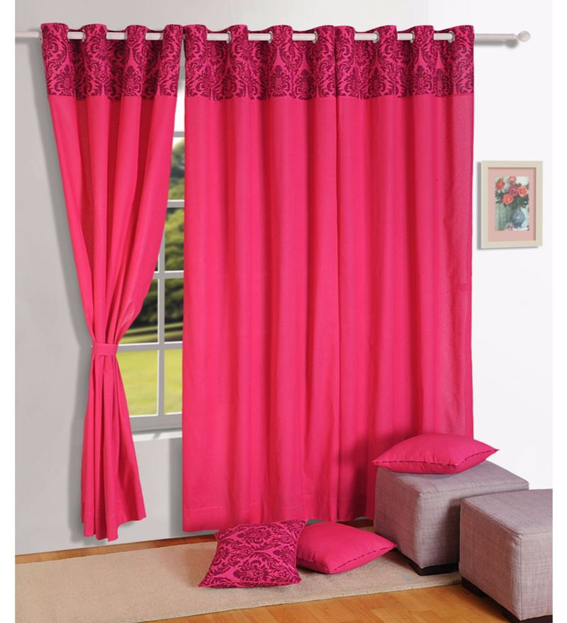 Magenta Cotton Solid Premium Lining Plain Eyelet Curtain by Swayam