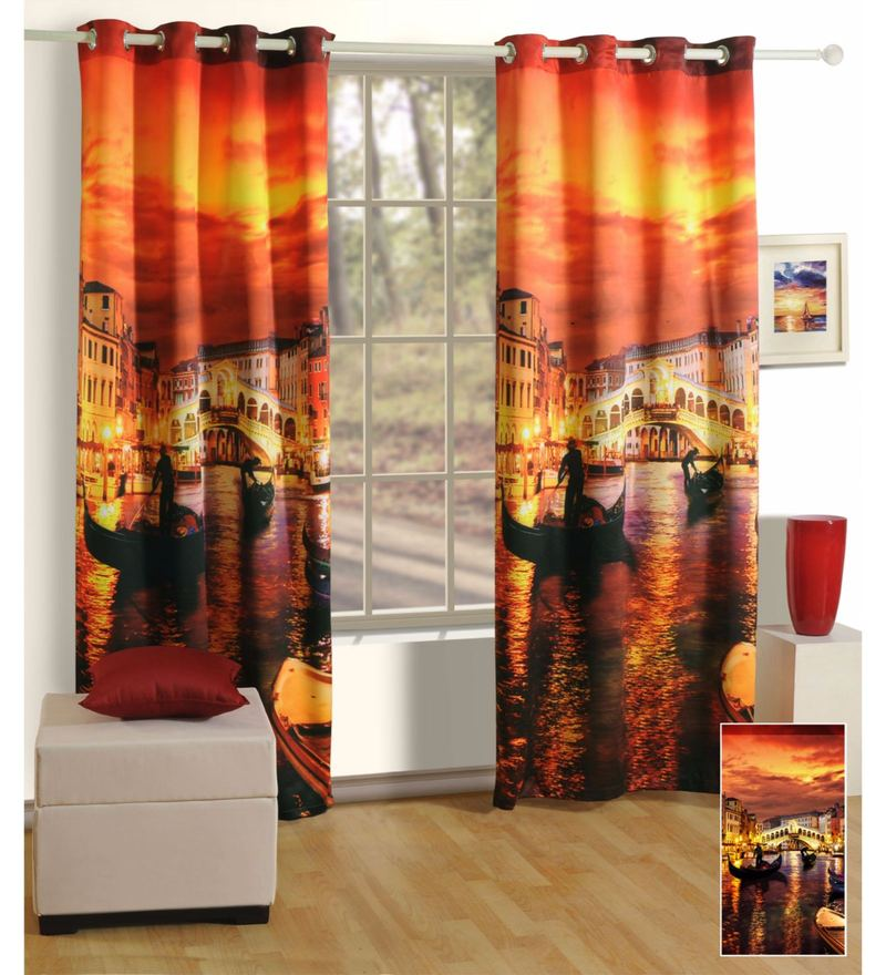 Multicolour Faux Silk 60 x 48 Inch Abstract Lounge Eyelet Window Curtain by Swayam