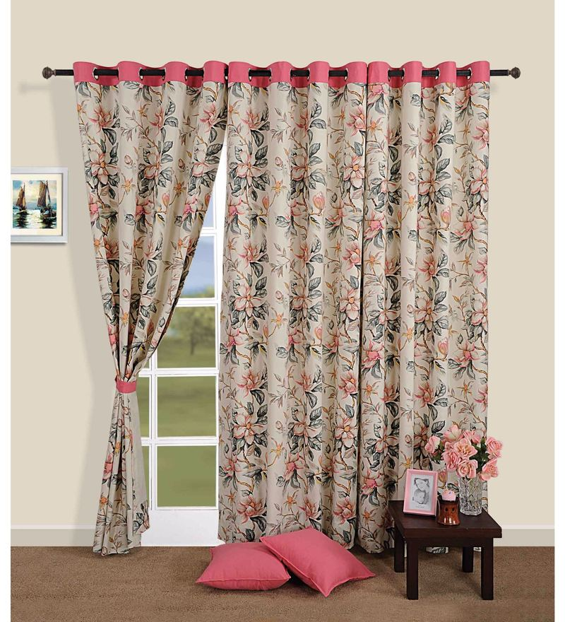 Pink 100% Cotton 60 x 54 Inch Floral Premium Lining Printed Eyelet Window Curtain by Swayam