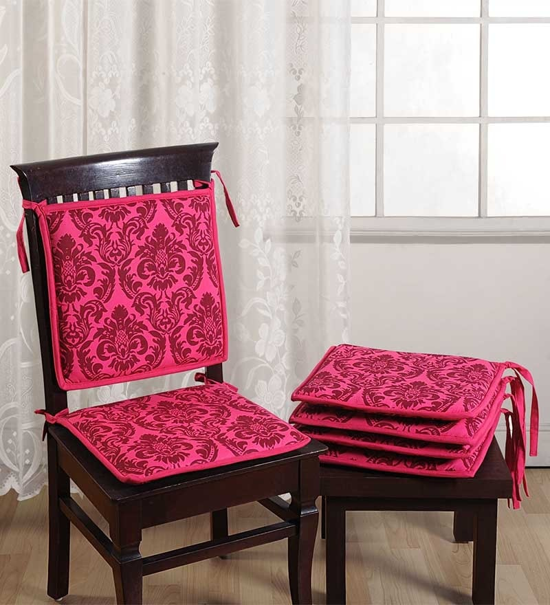 Pink Cotton 16 x 16 Inch Contemporary Chair Pad - Set of 4 by Swayam