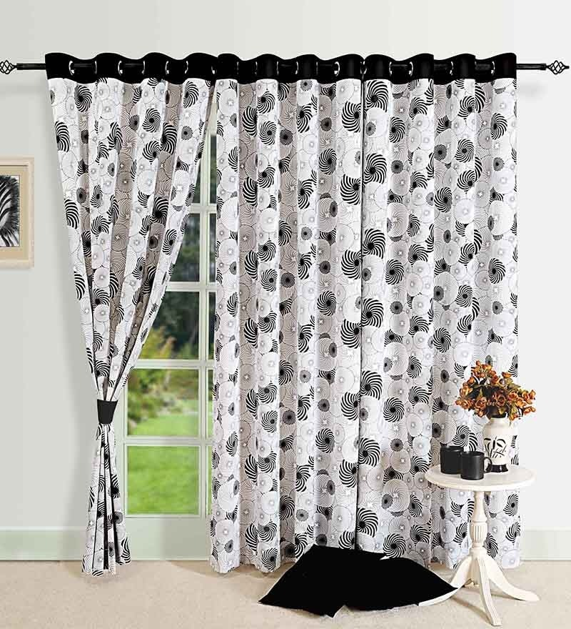 Swayam Monochrome Black Cotton 88 x 54 Inch Eyelet Door Curtain