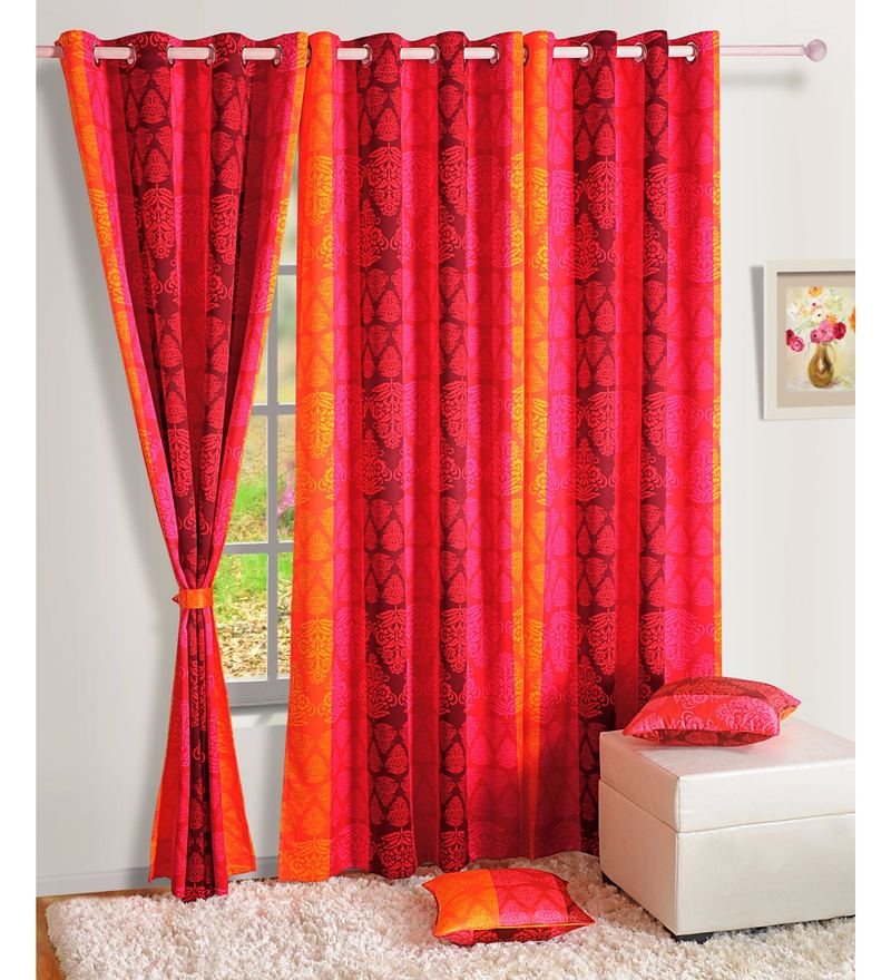 Red Faux Silk Ethnic Sigma Eyelet Curtain by Swayam