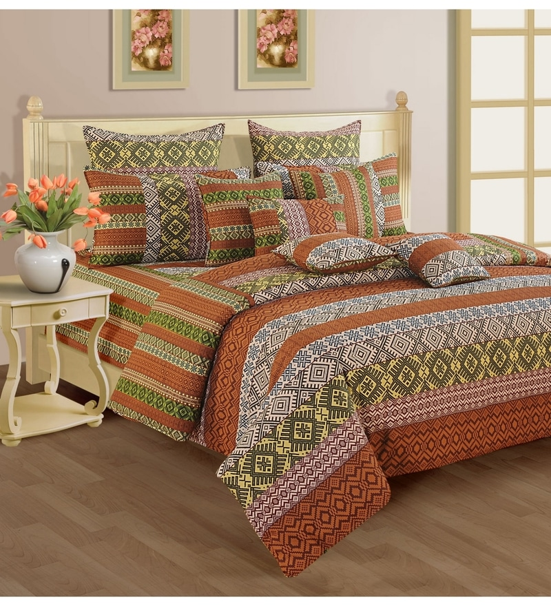 Rust Cotton Queen Size Bedding Set - Set of 4 by Swayam