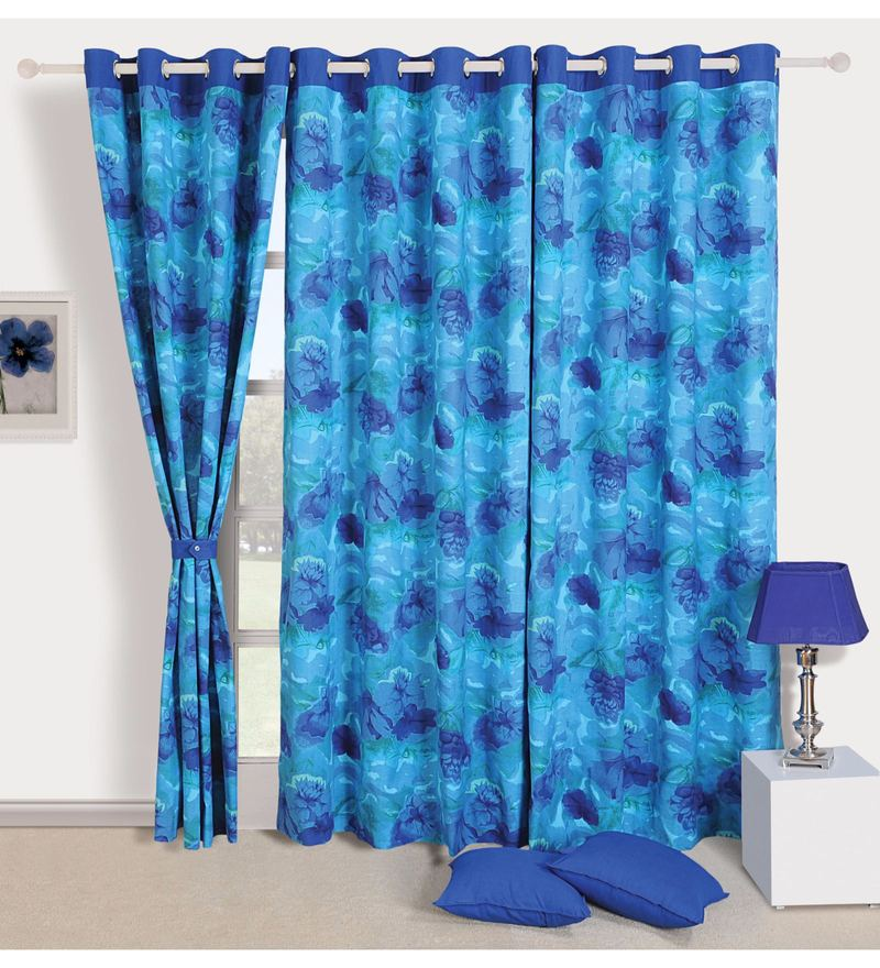 Turquoise Cotton Floral Premium Lining Printed Eyelet Curtain by Swayam