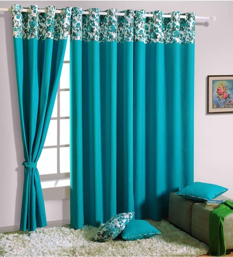 Turquoise Cotton Solid Premium Lining Plain Eyelet Curtain by Swayam