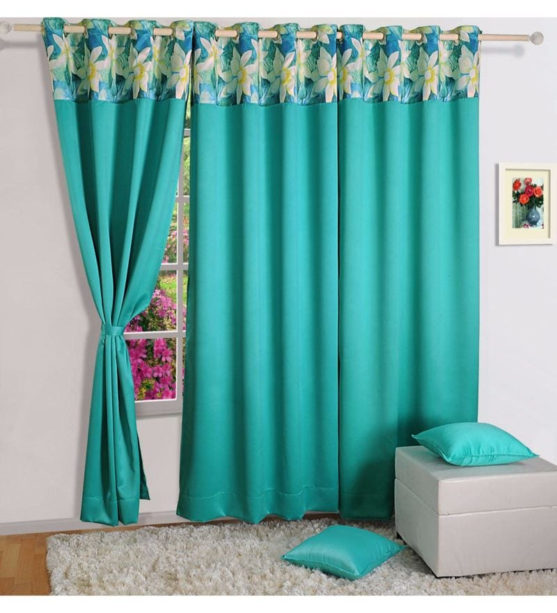Turquoise Faux Silk 60 x 48 Inch Solid PNP Blackout Eyelet Window Curtain by Swayam