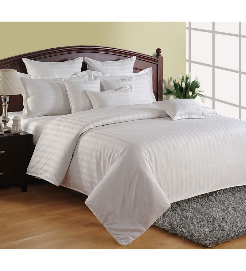 White Cotton Queen Size Bedding Set - Set of 4 by Swayam