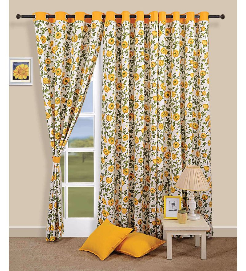 Swayam Yellow 100% Cotton 60 x 54 Inch Floral Premium Lining Printed Eyelet Window Curtain