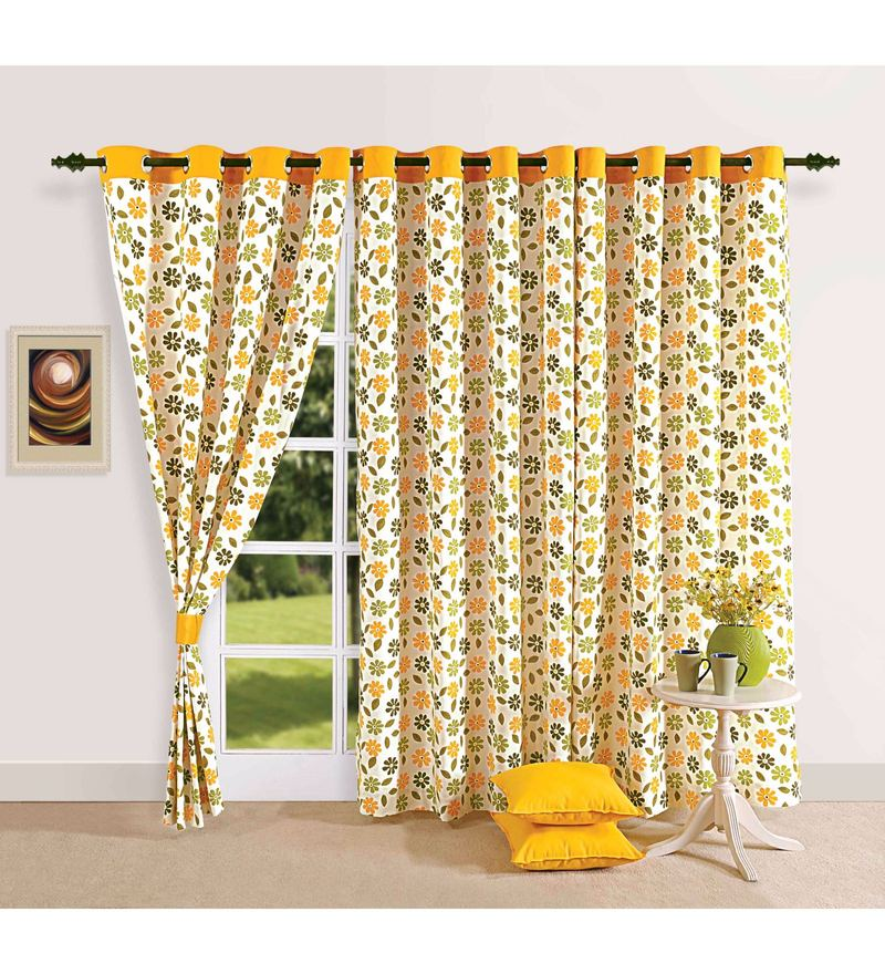 Yellow 100% Cotton 60 x 54 Inch Floral Printed Eyelet Window Curtain by Swayam