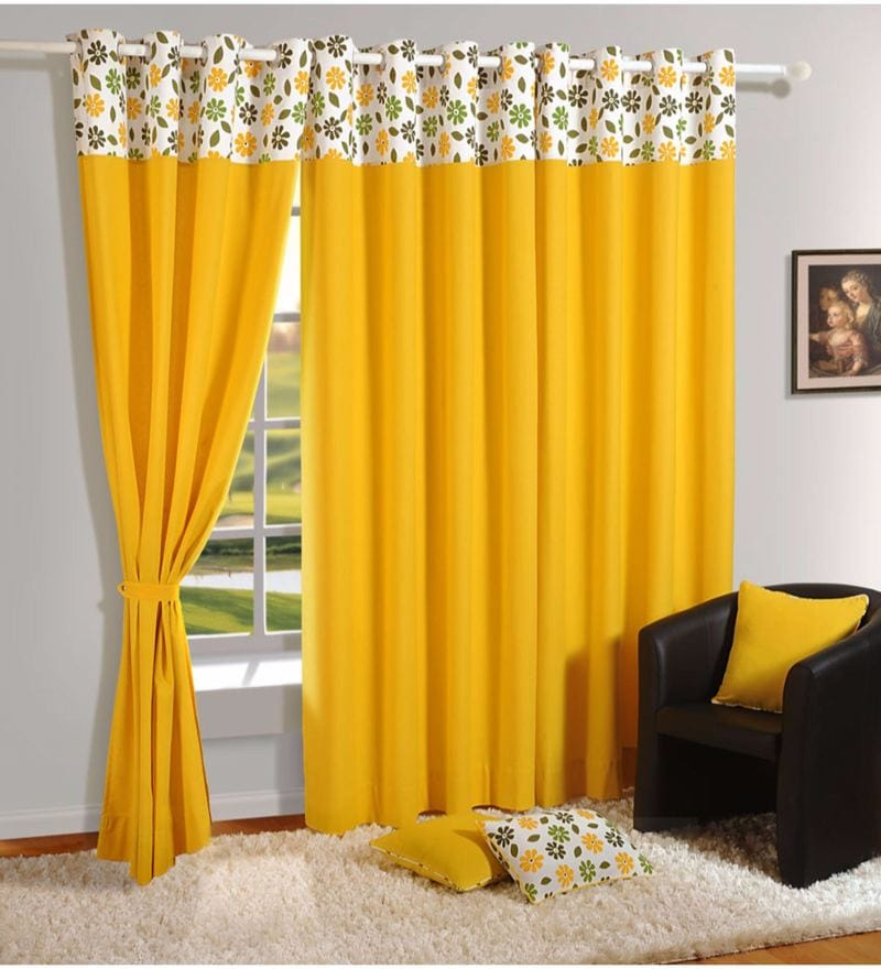 Yellow 100% Cotton 60 x 54 Inch Solid Plain Eyelet Window Curtain by Swayam
