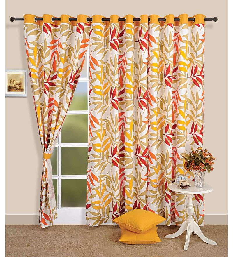 Yellow Cotton Leaf Printed Eyelet Curtain by Swayam