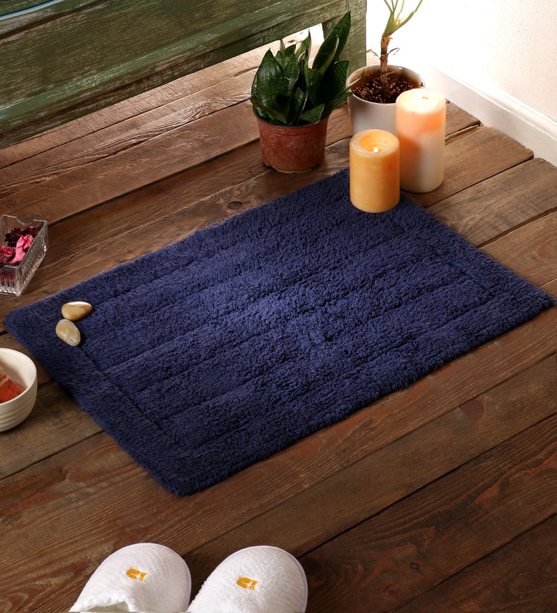 Blue Cotton 24 x 16 Bath Mat by SWHF