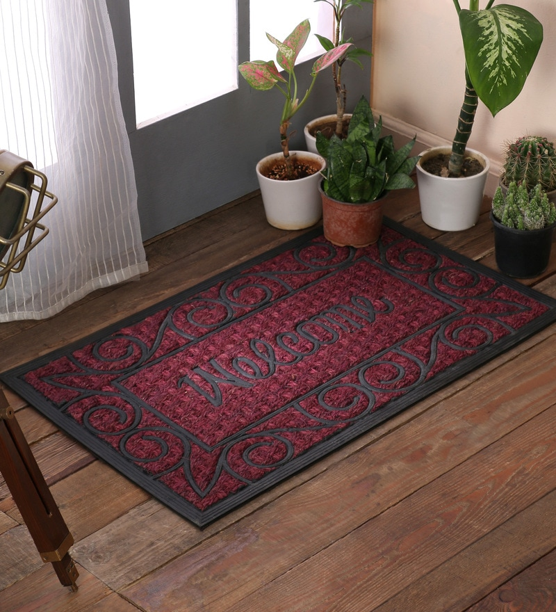 Red Rubber & Coir 30 x 18 Inch Panama Welcome Door Mats by SWHF