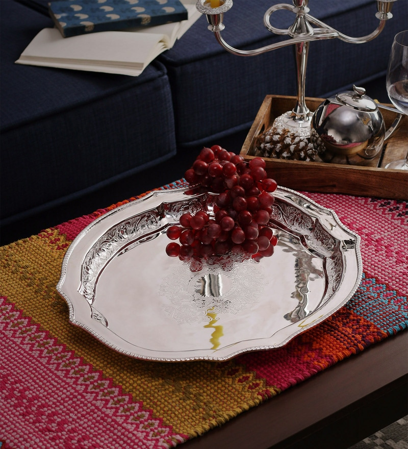 SWHF Silver Plated Victorian Brass Oval Tray