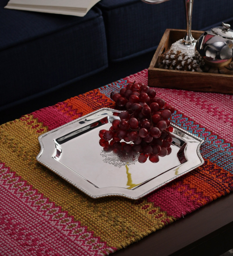 SWHF Silver Plated Victorian Brass Square Tray