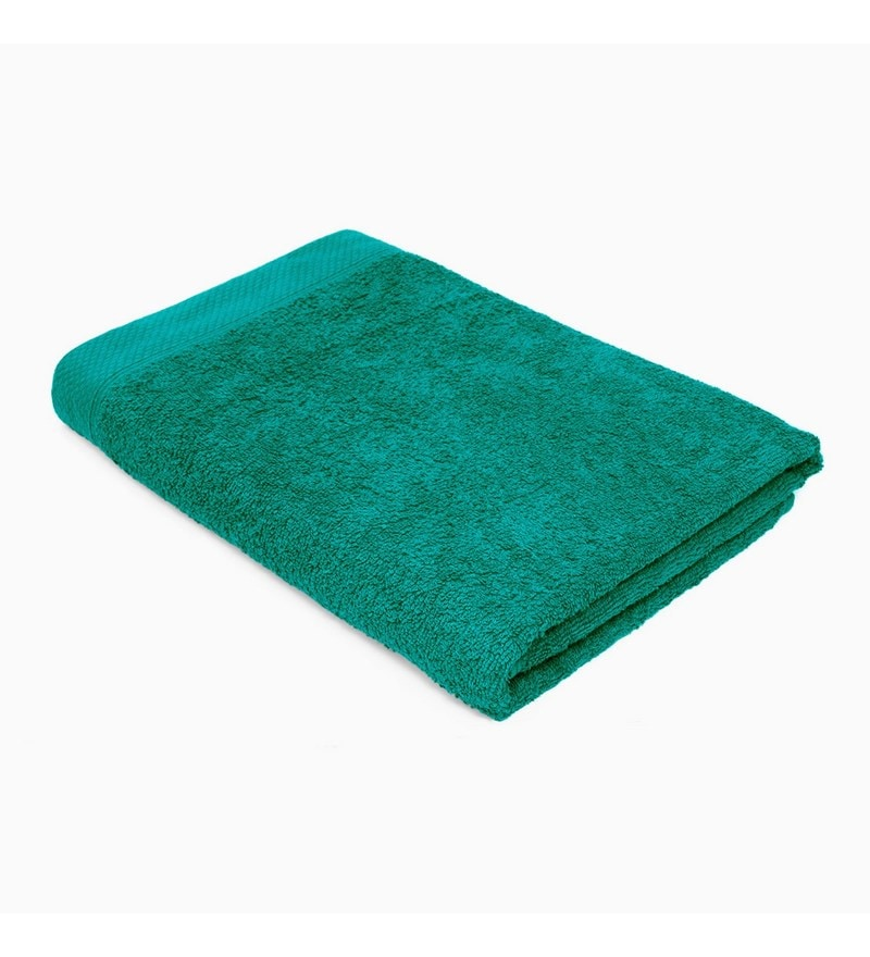 Green Cotton 28 x 59 Bath Towel by Swiss Republic