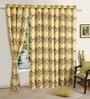 Beige Cotton 60 x 54 Inch Ethnic Printed Eyelet Window Curtain by Swayam