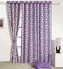 Purple Cotton 60 x 54 Inch Floral Eyelet Window Curtain by Swayam