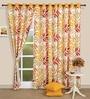 Yellow Cotton 60 x 54 Inch Motif Printed Eyelet Window Curtain by Swayam