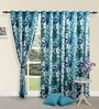 Leaf Printed Blue Cotton 60 INCH Eyelet Window Curtain by Swayam