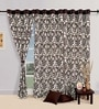 Swayam Choco Brown Cotton 60 x 54 Inch Floral Eyelet Window Curtain