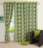 Green Rhombus Printed Eyelet Window Curtain with Lining- 5 Ft by Swayam