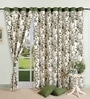 Olive Green Cotton 60 x 54 Inch Eyelet Window Curtain by Swayam