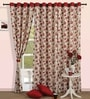 Swayam Printed Red Cotton 60 INCH Eyelet Window Curtain with Lining