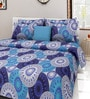 Swastika Blue Cotton Queen Size Bed Sheets with 2 Pillow Covers