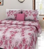 Swastika Pink Cotton Queen Size Bed Sheets with 2 Pillow Covers