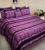 Purple Cotton Queen Size Bed Sheet - Set of 3 by Swastika