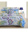 Blue Cotton Queen Size Bed Sheet - Set of 3 by Swayam