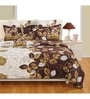 Brown Cotton Queen Size Bed Sheet - Set of 3 by Swayam