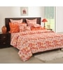 Swayam Orange Cotton Queen Size Bed Sheet - Set of 3