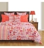 Orange Cotton Queen Size Bedding Set - Set of 4 by Swayam