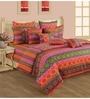 Swayam Orange Cotton Queen Size Bedding Set - Set of 4