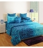 Sea Green Cotton Queen Size Bed Sheet - Set of 3 by Swayam