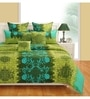 Turquoise Cotton Queen Size Bed Sheet - Set of 3 by Swayam