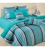 Swayam Turquoise Cotton Queen Size Bed Sheet - Set of 3