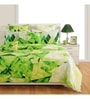 White and Green Cotton Queen Size Bedding Set - Set of 4 by Swayam