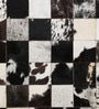 Black & White Leather 35 x 59 Inch Large Rug Patch Work Rug by SWHF
