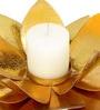 Gold Iron Antique Lotus Tea Light Holder by SWHF
