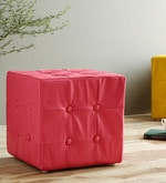 Sylvie Pouffe in Red Leatherette